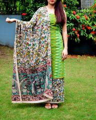 Ikat & Kalamkari Block Print Cotton Suit-Green