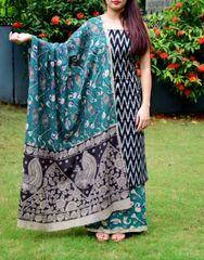 Ikat & Kalamkari Block Print Cotton Suit-Black