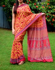 Handblock Print Saree in Mul Cotton-Red&Yellow