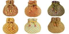 Set of 6 Bead Pouch/Potli Bags