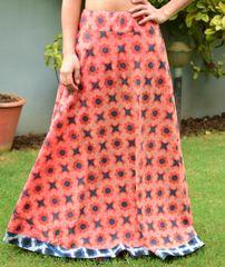Blockprint Cotton Skirt- Peach