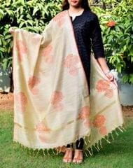 Cotton Silk Hand Block Printed Dupatta-Pattern 1