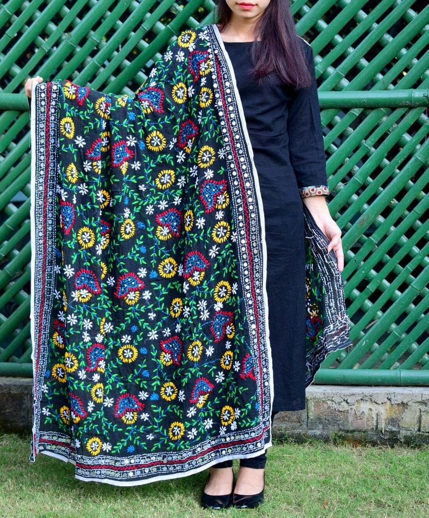 Phulkari Dupatta on Georgette Fabric-Black