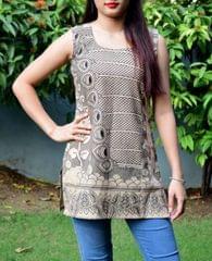 Cotton Kalamkari Kurti- Grey & Offwhite
