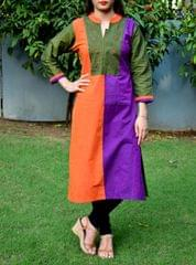 Handloom Cotton Kurta- Multicolored