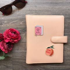 Faux Leather Planner: Peach Pink | Customise with any 2 patches of your choice