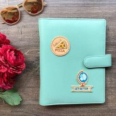 Faux Leather Planner: Mint Green  | Customise with any 2 patches of your choice