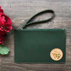Solid-Coloured Wristlet Pouch - Dark Green | Customize with a patch of your choice