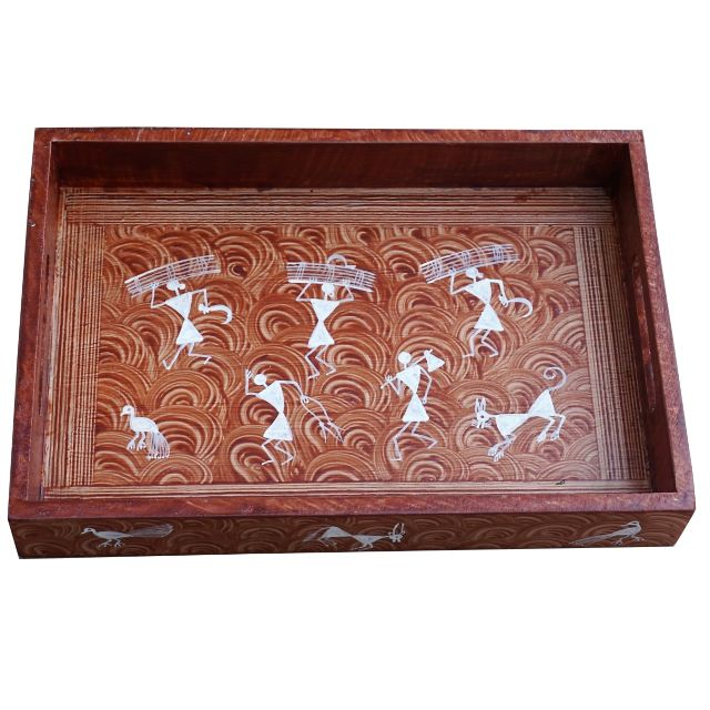 Wooden Tray With Handle-Medium Size -Warli Art-WD22