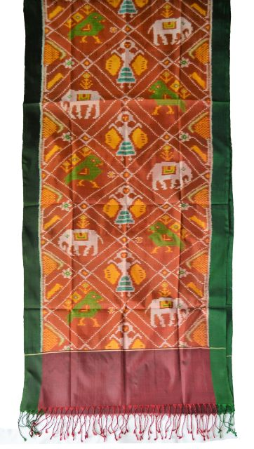 Pure Silk Single Ikat Patola Stole 24 Inch