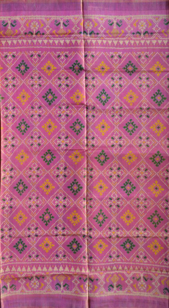 Single Ikat Patola Saree Handwoven-Pure Silk-Light Pink