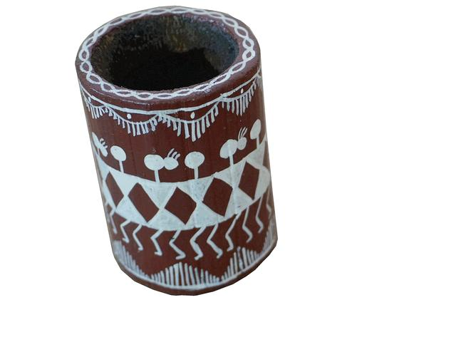 Wooden Pen Stand Circular-Warli Art-WA22