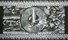 Warli Painting on Canvas- Theme- Khala and Bhat Zodani-A2