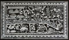 Warli Painting on Canvas-Theme- Randhavan aani Bajar-A4