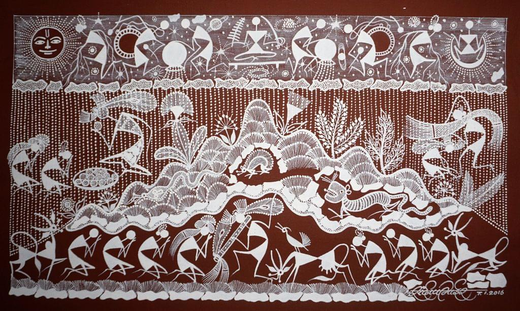 Warli Painting on Canvas- Theme- Krishna and Gopis-B3