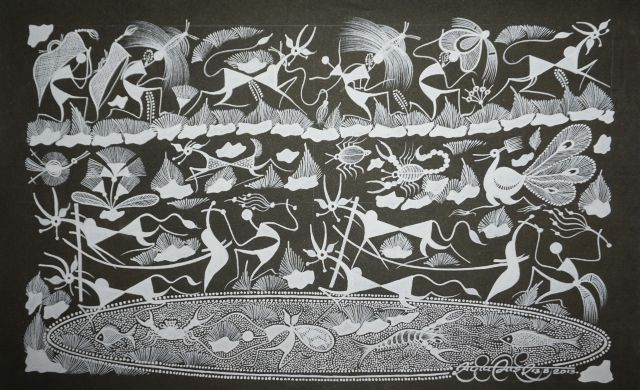 Warli Painting on Canvas- Theme- Nangar (ploughing)-B10