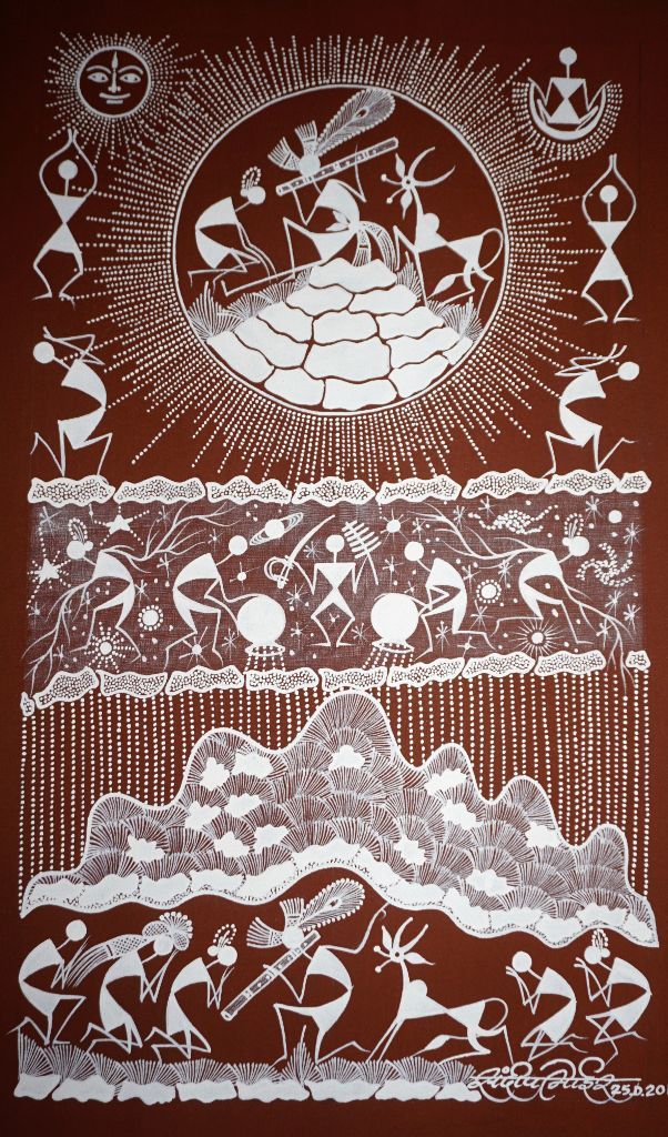Warli Painting on Canvas- Theme- Krishna cha Dongar (Krishna lifting Govardhan hill)-B4