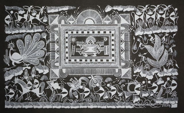 Warli Painting on Canvas-Theme-Chauk ani Lagnachi Varat (Wedding procession and rituals)-B8