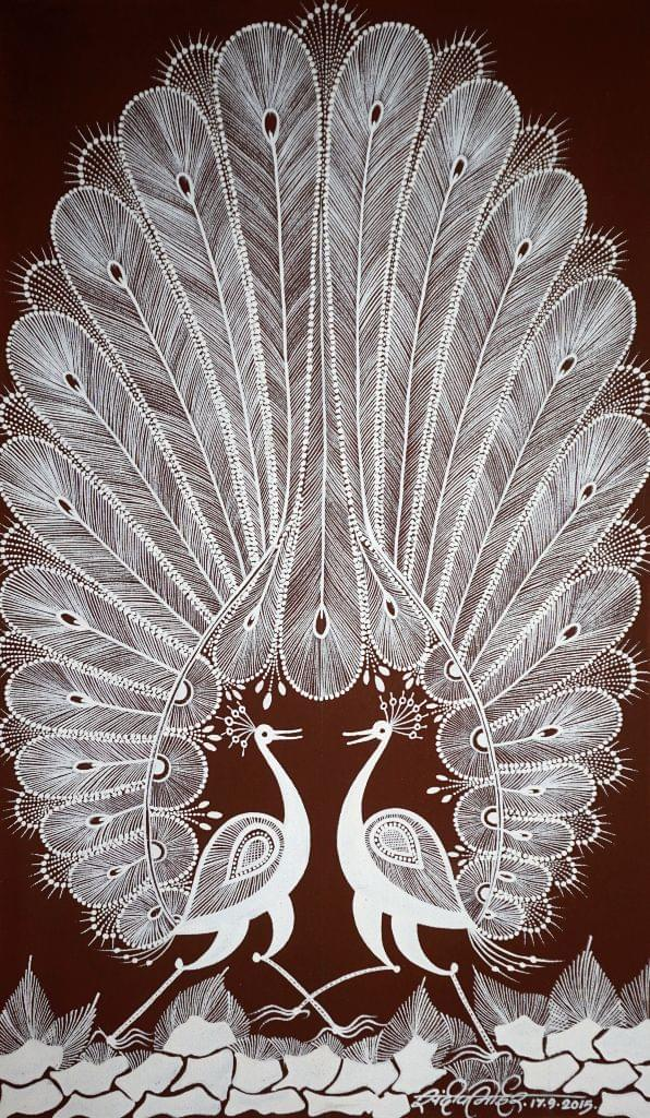 Warli Painting on Canvas- Theme: Mor Jodi (Pair of Peacocks)-C4