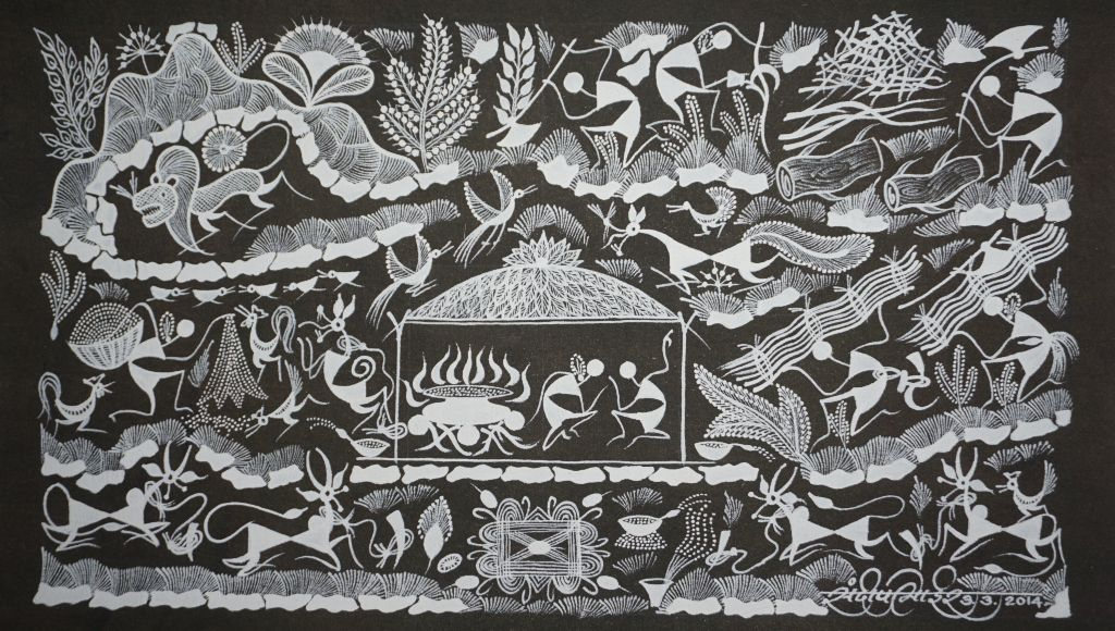 Warli Painting on Canvas- Theme-Ayechca Randhavan (Food cooked by Mother)-B9