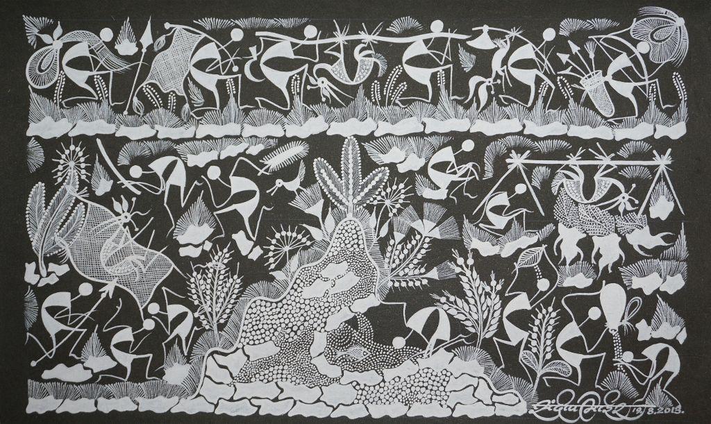 Warli Painting on Canvas- Theme: Dongaretala Vihara (Roaming on the hills)-B11