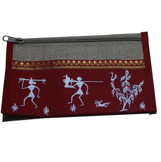 Trendy Jute Purse-Warli Art-Maroon-JA11