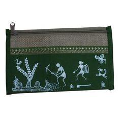 Trendy Jute Purse-Warli Art-Green-JA11