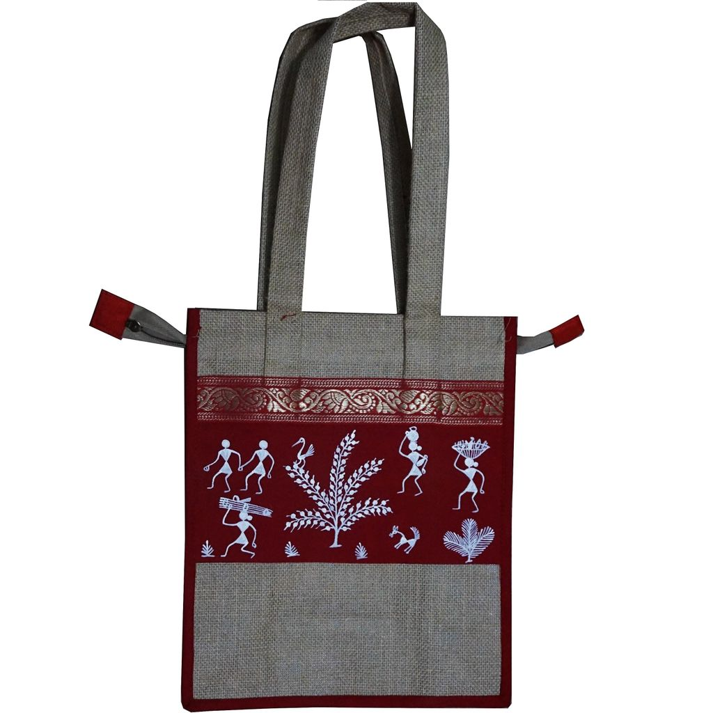 Trendy Jute Bag-Warli Art-JC12