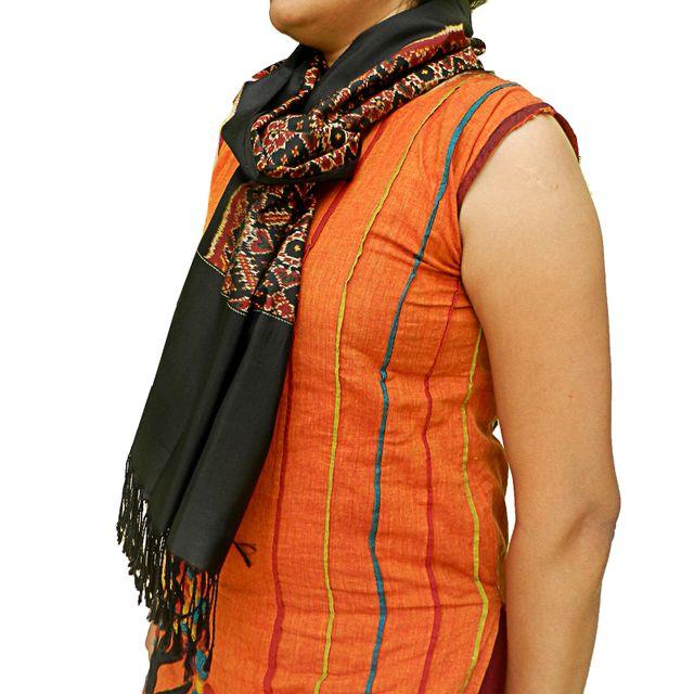 Pure Silk National Award Winner Single Ikat Patola Stole 24 Inch