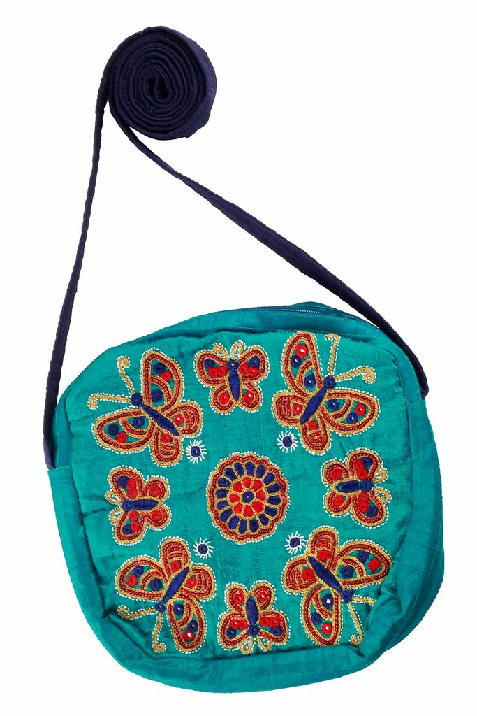 Embroidered Handcrafted Silk Juhi Bag-VIVEKA