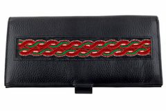 Leather Passport Case with hand embroidery-VIVEKA