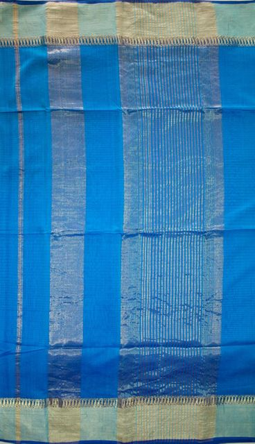 Maheshwari Handwoven Cotton-Silk Saree: Karwat Zari Patti