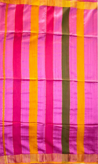 Maheshwari Handwoven Cotton-Silk Saree: Kosa (Tassar) Silk