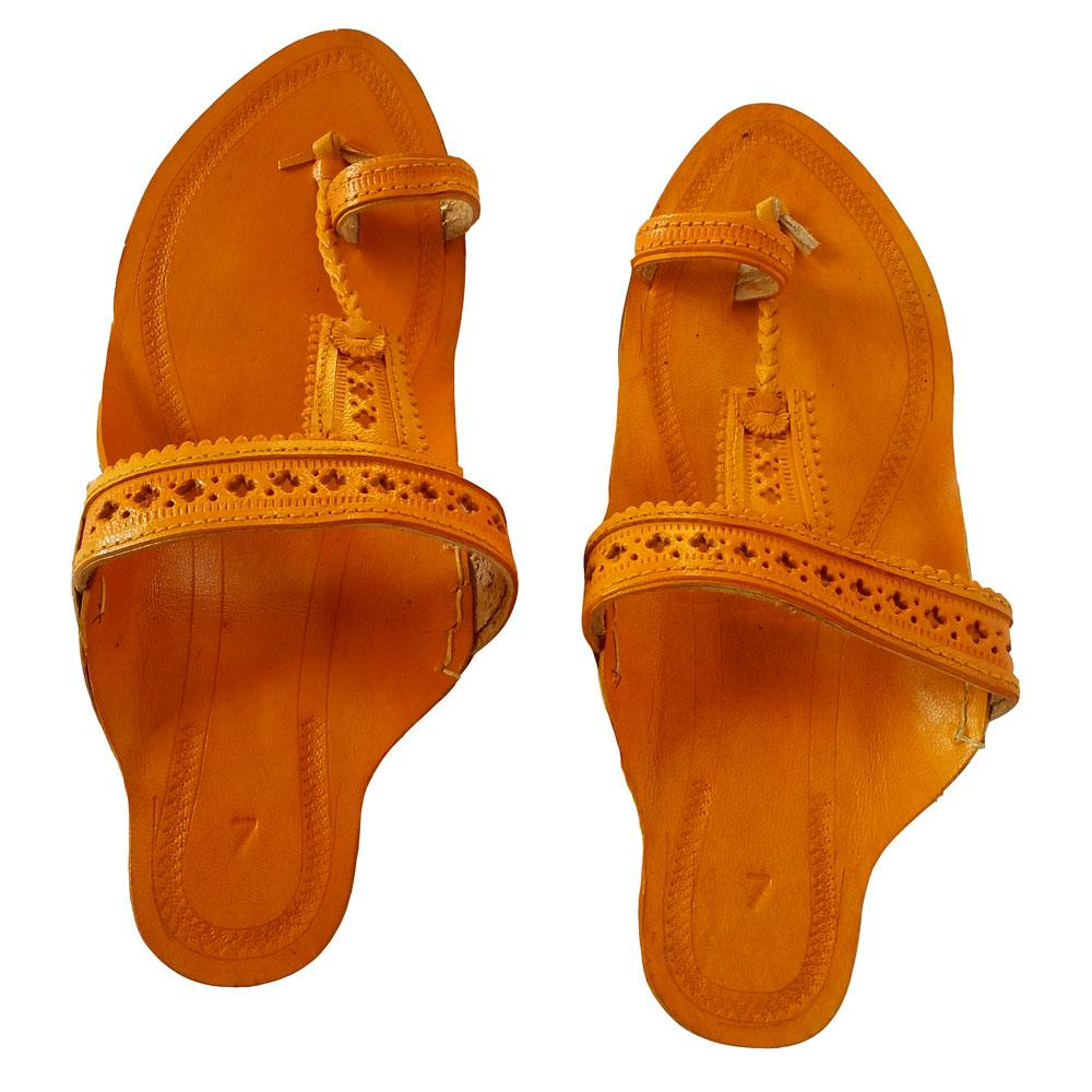 Kolhapuri Women Yellow sandal- Biscuit Pan