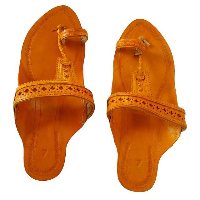 Kolhapuri Women Yellow sandal- Biscuit Pan