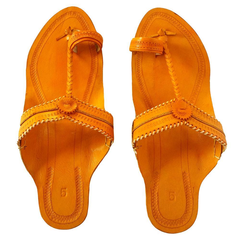 Kolhapuri Women Yellow sandal- Typical Kop