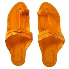 Kolhapuri Women Yellow sandal- Typical Kop