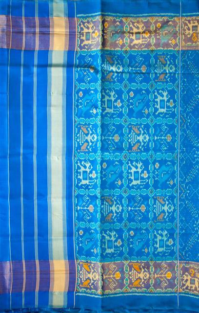 Single Ikat Patola Saree Handwoven-Pure Silk-Blue