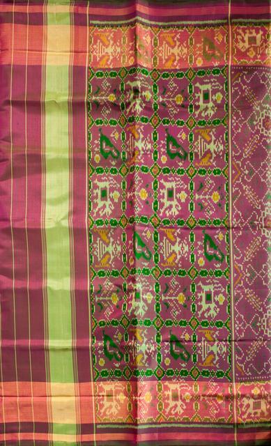 Single Ikat Patola Saree Handwoven-Pure Silk-Pink dual shade