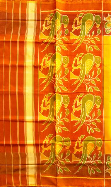 Single Ikat Patola Saree Handwoven-Pure Silk-Yellow-Orange