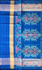 Single Ikat Patola Saree Handwoven-Pure Silk-Blue-Green