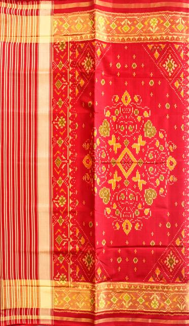Single Ikat Patola Saree Handwoven-Pure Silk-Red