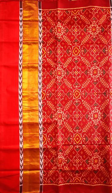Single Ikat Patola Saree Handwoven-Pure Silk-Multi Colour