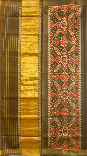 Single Ikat Patola Saree Handwoven-Pure Silk- Olive Green