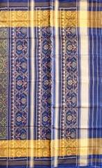 Single Ikat Patola Saree Handwoven-Pure Silk-Blue-Golden Dual shade