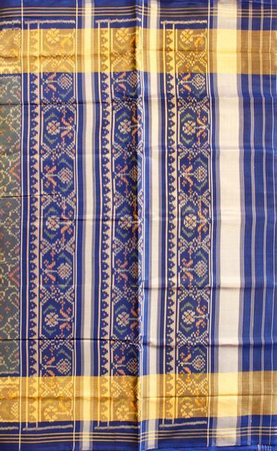 Single Ikat Patola Saree Handwoven-Pure Silk-Blue-Golden Dual shade