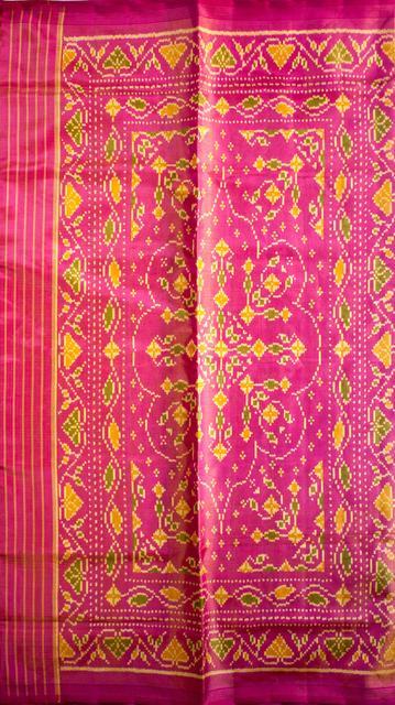 Single Ikat Patola Saree Handwoven-Pure Silk and Zari work -Pink and Cream color