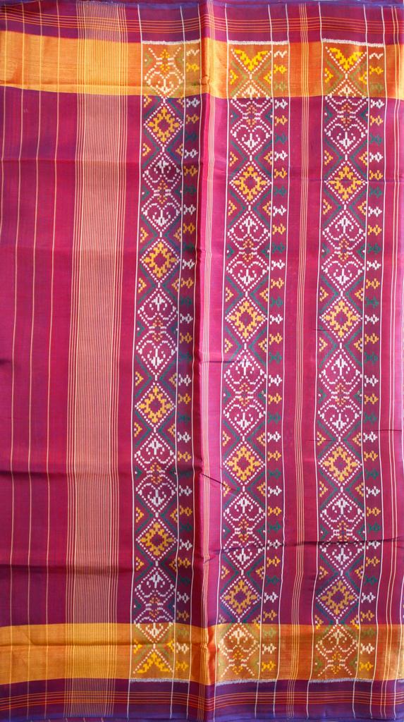 Single Ikat Patola Saree Handwoven-Pure Silk-Navy Blue-Pink