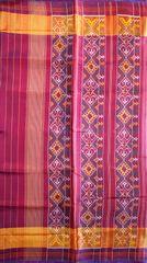 Single Ikat Patola Saree Handwoven-Pure Silk-Navy Blue-Pink