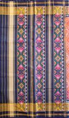 Single Ikat Patola Saree Handwoven-Pure Silk-Orange-Blue